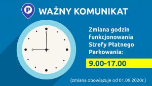 Zmiany w Strefie Płatnego Parkowania od 01.09.2020 r.